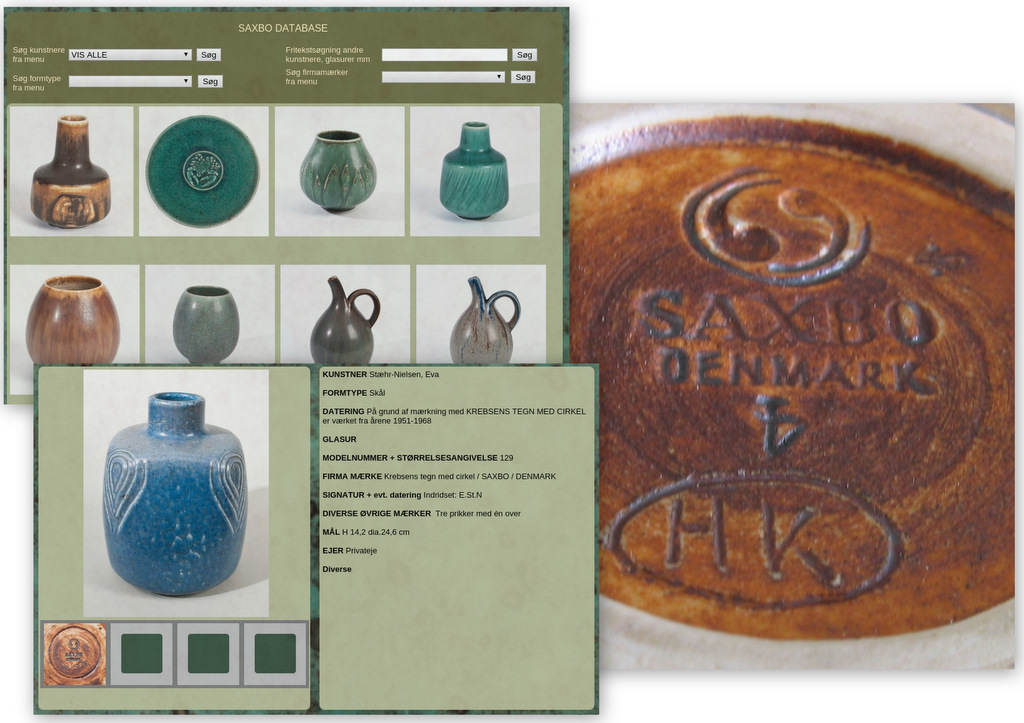 dansk keramik stempler og mærker Saxbo database. | Loppefund Research dansk keramik stempler og mærker
